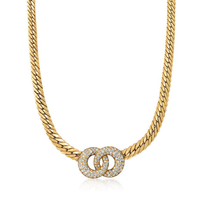 C. 1980 Vintage 4.00 ct. t.w. Diamond Double- Circle Necklace in 18kt Yellow Gold. 18.75""