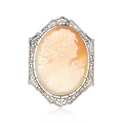 C. 1960 Vintage Oval Carved Shell Cameo Pin in 14kt White Gold , , default