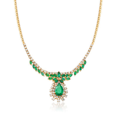 C. 1980 Vintage 6.70 ct. t.w. Emerald and 3.00 ct. t.w. Diamond Necklace in 14kt Yellow Gold, , default