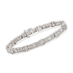 1.00 ct. t.w. Baguette and Round Diamond Bracelet in Sterling Silver, , default