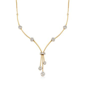 "C. 2000 Vintage 2.00 ct. t.w. Diamond Floral Station Tassel Drop Y-Necklace in 14kt Yellow Gold. 20.25"", , default"