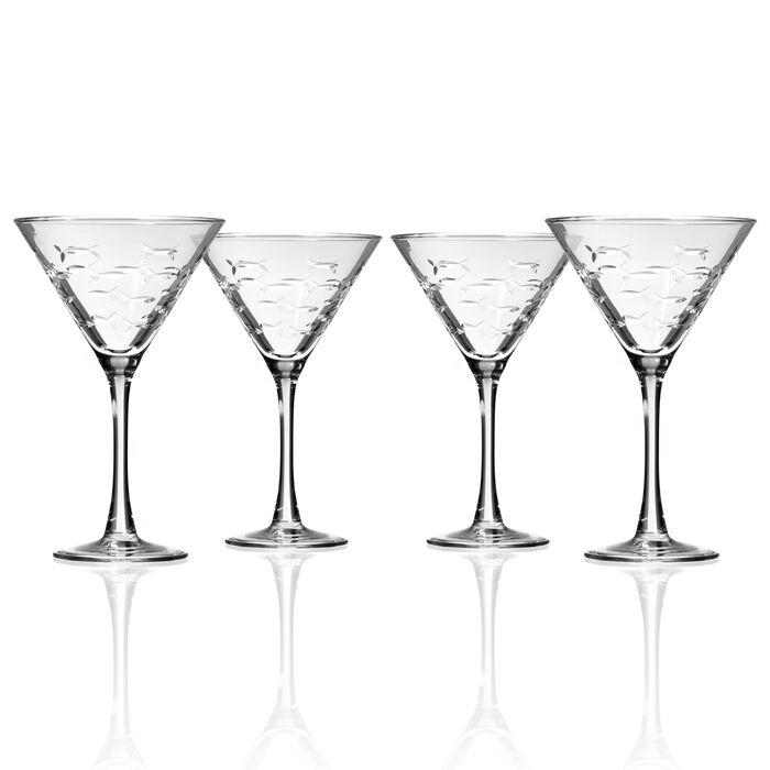 "Rolf Glass ""School of Fish"" Set of 4 Martini Glasses"