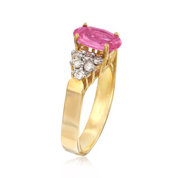 C. 1990 Vintage 1.72 Carat Pink Sapphire .40 ct. t.w. Diamond Ring in 14kt Yellow Gold. Size 7, , default