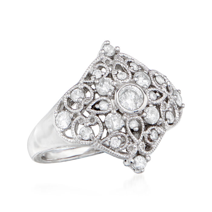 .80 ct. t.w. Diamond Openwork Floral Ring in 14kt White Gold