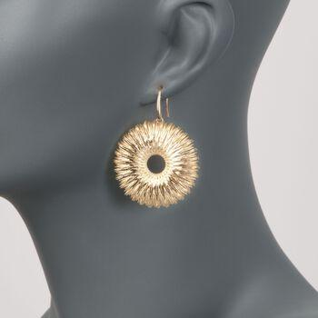 Italian 14kt Yellow Gold Wire-Wrapped Sunburst Drop Earrings