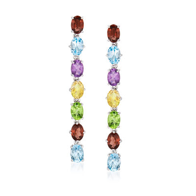 12.20 ct. t.w. Multi-Gemstone Linear Drop Earrings in Sterling Silver