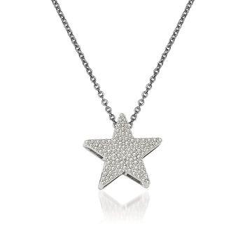 "14kt White Gold Star Pendant Necklace. 18"", , default"
