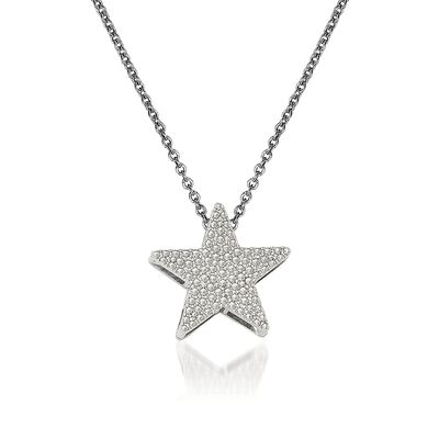 14kt White Gold Star Pendant Necklace, , default