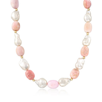 12-14mm Cultured Baroque Pearl and Pink Opal Bead Necklace with 14kt Yellow Gold, , default