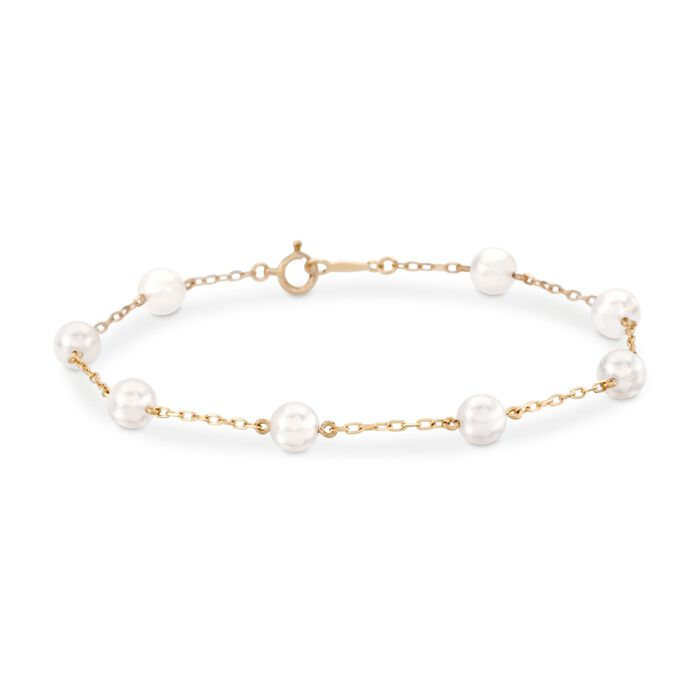 "Mikimoto 5-5.5mm A+ Akoya Pearl Bracelet in 18kt Yellow Gold. 7"", , default"