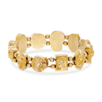 "C. 1970 Vintage 14kt Yellow Gold Goddess Bracelet with .33 ct. t.w. Diamonds. 7.25"", , default"