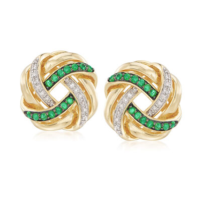 .40 ct. t.w. Emerald and .10 ct. t.w. Diamond Love Knot Earrings in 18kt Gold Over Sterling, , default