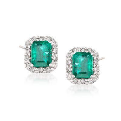 .75 ct. t.w. Emerald and .20 ct. t.w. Diamond Stud Earrings in 14kt White Gold, , default