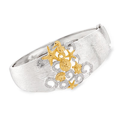.25 ct. t.w. Diamond Sea Life Bangle Bracelet in Sterling Silver with 18kt Gold Over Sterling