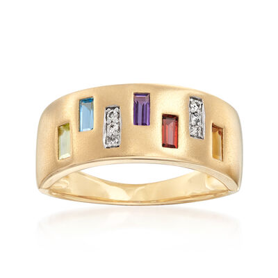 .50 ct. t.w. Multi-Gem Ring with Diamond Accents in 14kt Yellow Gold