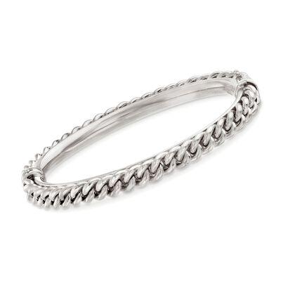 Italian Sterling Silver Curb Chain Bangle Bracelet, , default