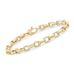 Italian Oval-Link Bracelet in 14kt Yellow Gold, , default