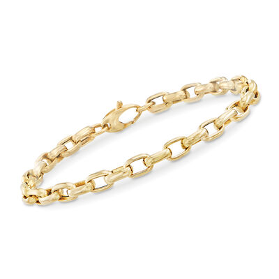 Italian Oval-Link Bracelet in 14kt Yellow Gold, , default