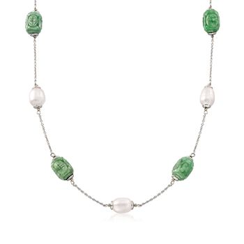 "8-9mm Cultured Pearl and Carved Jade Station Necklace in Sterling Silver. 18"", , default"