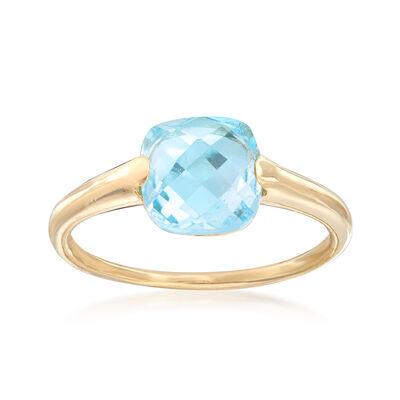 Italian 2.60 Carat Blue Topaz Ring in 14kt Yellow Gold, , default