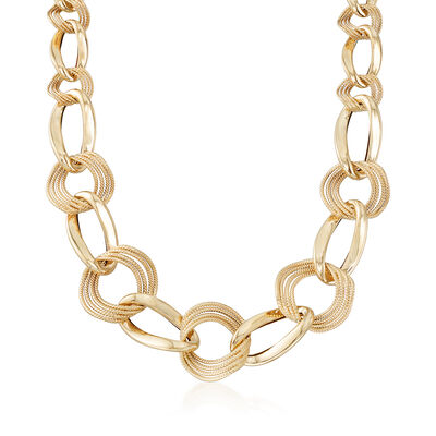 Italian 14kt Yellow Gold Textured and Polished Graduated Curb-Link Necklace, , default