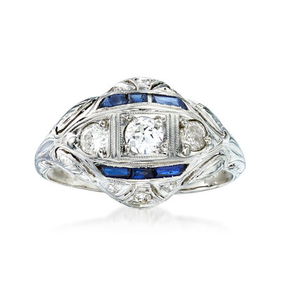C. 1950 Vintage .50 ct. t.w. Diamond and Synthetic Sapphire Ring in 18kt White Gold, , default