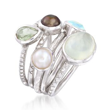 Green Multi-Stone and 6mm Black and White Cultured Pearl Jewelry Set: Five Rings in Sterling Silver, , default