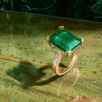 7.25 Carat Emerald and .14 ct. t.w. White Topaz Ring in 14kt Gold Over Sterling, , default