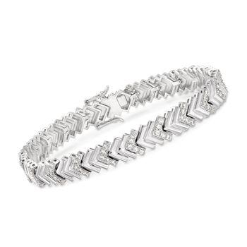 1.60 ct. t.w. CZ Chevron-Link Tennis Bracelet in Sterling Silver, , default