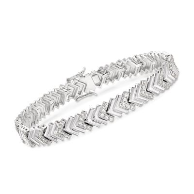 1.60 ct. t.w. CZ Chevron-Link Tennis Bracelet in Sterling Silver, , default
