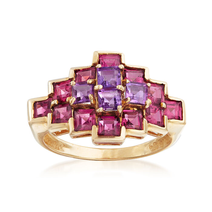 C. 1990 Vintage 2.20 ct. t.w. Rhodolite and .65 ct. t.w. Amethyst Ring in 10kt Yellow Gold. Size 7, , default