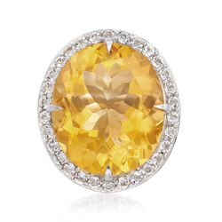 14.00 Carat Citrine and 1.20 ct. t.w. White Topaz Ring in Sterling Silver, , default