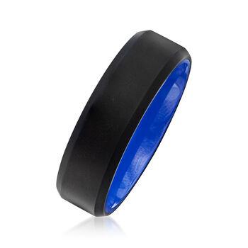 Men's 7mm Black Matte Tungsten Carbide Wedding Ring with Blue Ceramic. Size 10, , default