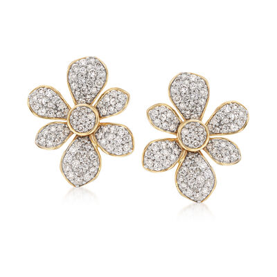 1.50 ct. t.w. Diamond Flower Earrings in 14kt Yellow Gold, , default