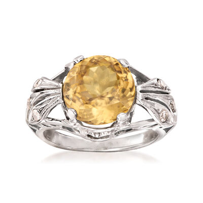 C. 1950 Vintage 5.56 Carat Yellow Zircon and .15 ct. t.w. Diamond Ring in 14kt White Gold, , default