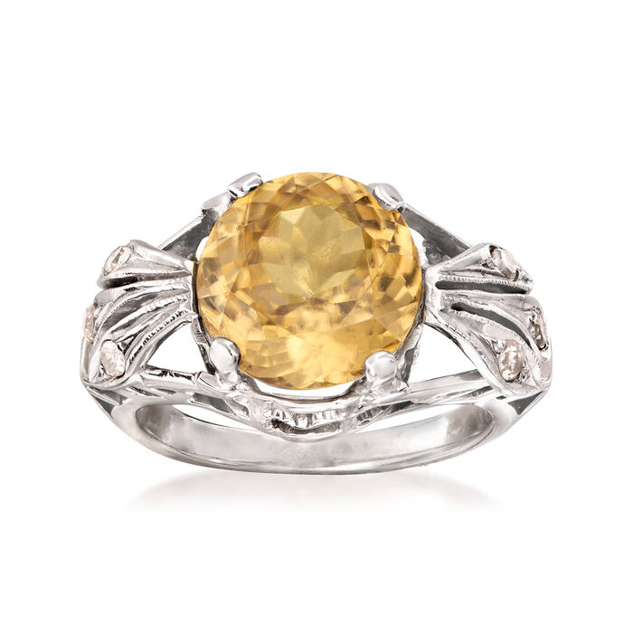 C. 1950 Vintage 5.56 Carat Yellow Zircon and .15 ct. t.w. Diamond Ring in 14kt White Gold. Size 5.25