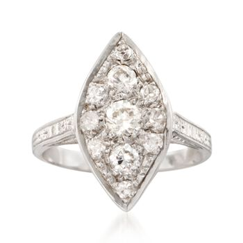 C. 2000 Vintage .65 ct. t.w. Diamond Navette Ring in 14kt White Gold. Size 5.5, , default