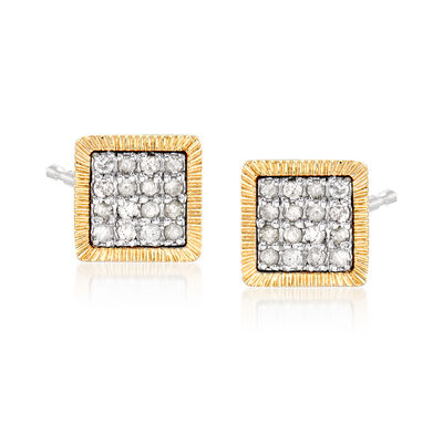 .25 ct. t.w. Diamond Square Cluster Earrings in Sterling Silver and 14kt Yellow Gold
