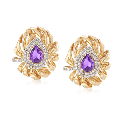 .70 ct. t.w. Amethyst and .48 ct. t.w. Diamond Drop Earrings in 14kt Yellow Gold, , default