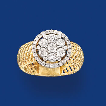 1.00 ct. t.w. Diamond Beaded Ring in 14kt Yellow Gold, , default