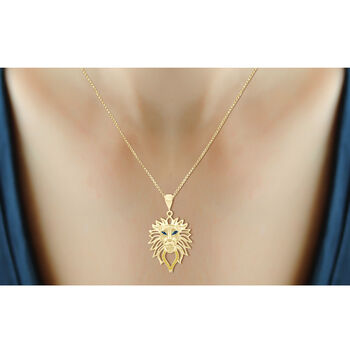 "18kt Yellow Gold Over Sterling Silver Lion Head Pendant Necklace with Diamond Accents. 18"", , default"