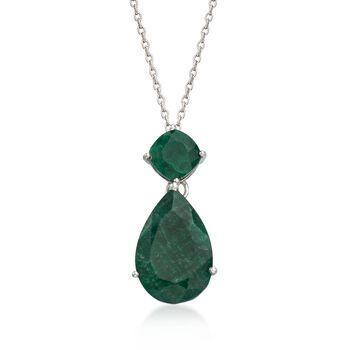 "11.90 ct. t.w. Emerald Pendant Necklace in Sterling Silver. 18"", , default"