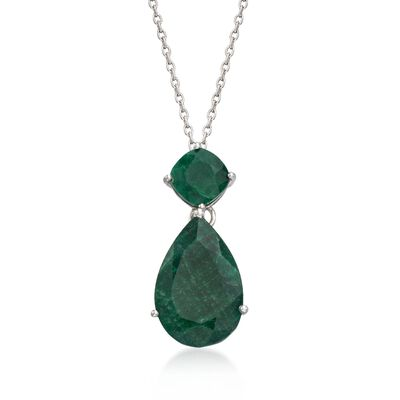 11.90 ct. t.w. Emerald Pendant Necklace in Sterling Silver, , default