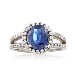 C. 2000 Vintage 2.90 Carat Sapphire and .75 ct. t.w. Diamond Ring in Platinum. Size 8, , default