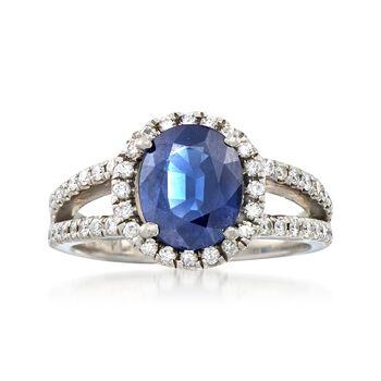 C. 2000 Vintage 2.90 Carat Sapphire and .75 ct. t.w. Diamond Ring in Platinum. Size 8, , default