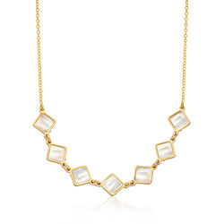 Italian White Mother-Of-Pearl-Necklace in 14kt Yellow Gold, , default