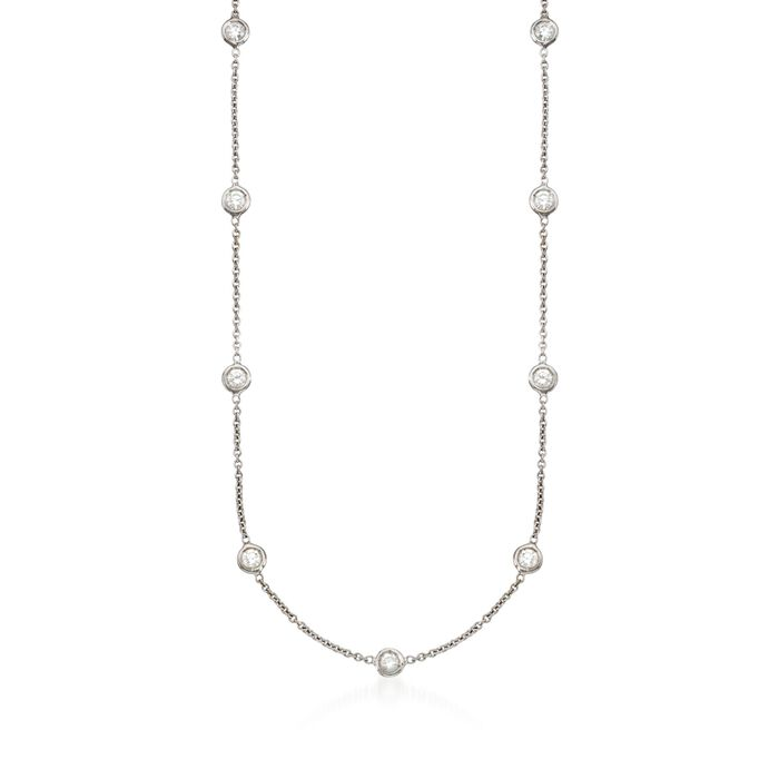 "Roberto Coin 1.48 ct. t.w. Diamond Station Necklace in 18kt White Gold. 18"", , default"