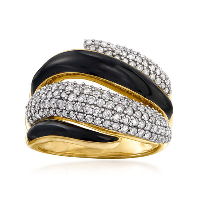 1.00 ct. t.w. Diamond and Black Enamel Ring in 18kt Gold Over Sterling