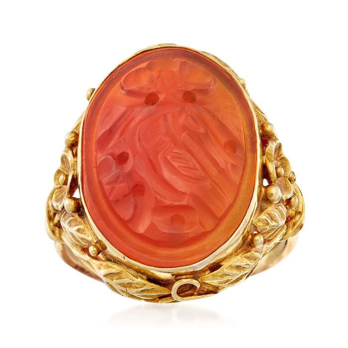 C. 1960 Vintage Bezel-Set Carved Red Carnelian Bird Ring in 14kt Yellow Gold. Size 5.75