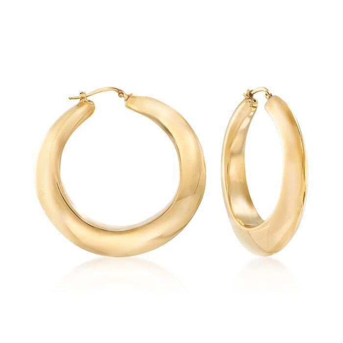 """Italian 18kt Yellow Gold Hoop Earrings. 2"""", , default"""